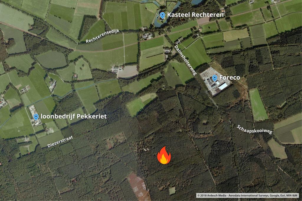 De exacte locatie van de brand.