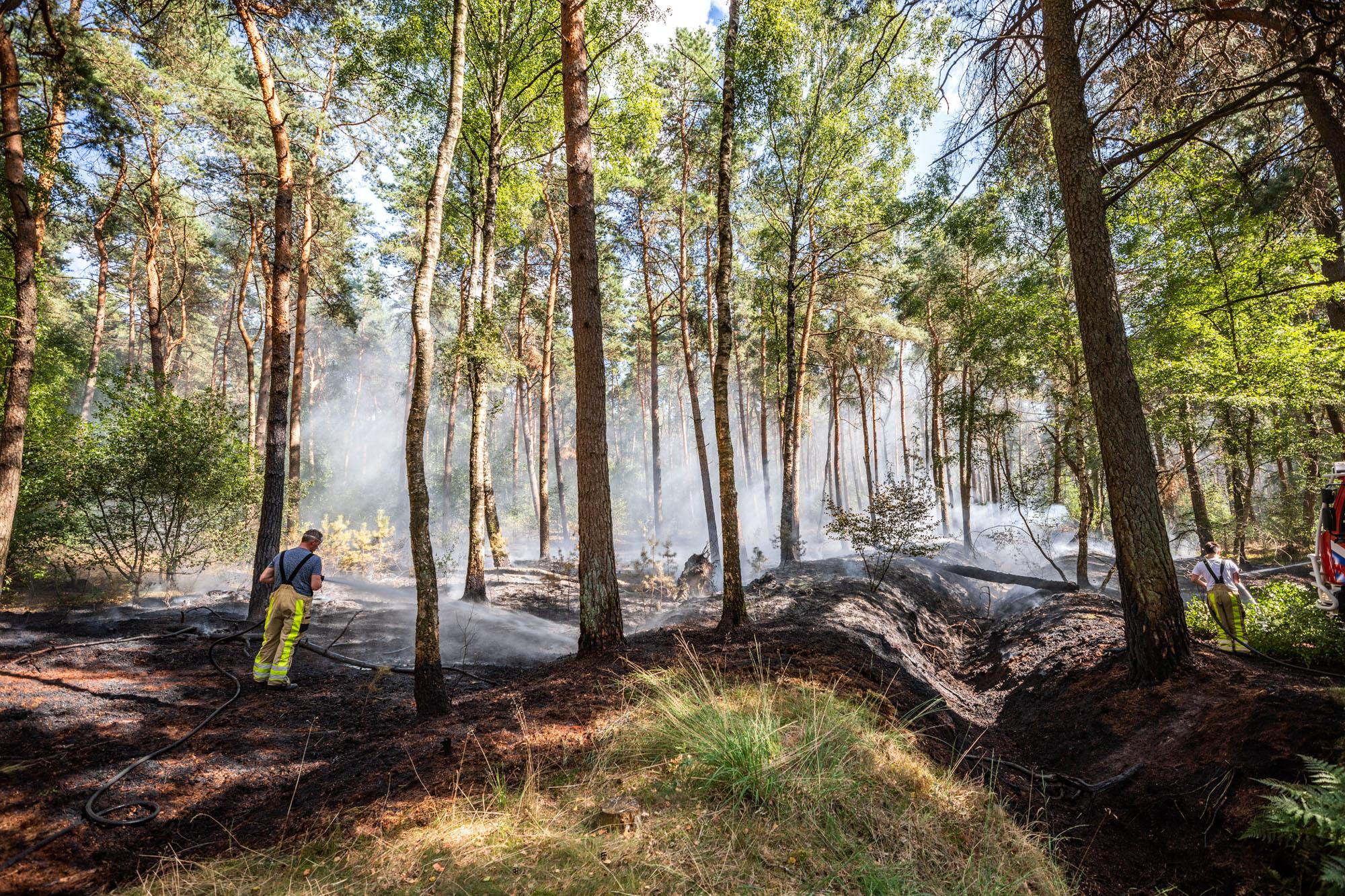 Brand in Sterrenbos tegenover camping Starnbosch, half